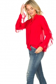 Fracomina |  Blouse with ruffles Vela | red  | Picture 7