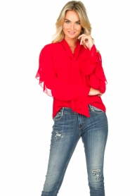 Fracomina |  Blouse with ruffles Vela | red  | Picture 5