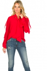 Fracomina |  Blouse with ruffles Vela | red  | Picture 4