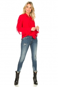 Fracomina |  Blouse with ruffles Vela | red  | Picture 3