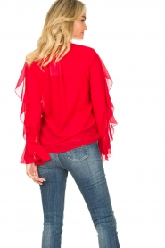 Fracomina |  Blouse with ruffles Vela | red  | Picture 8