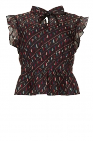 Fracomina |  Blouse with ruffles Manilla | black  | Picture 1