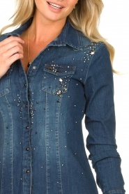 Fracomina |  Denim blouse with beads Broste | blue  | Picture 7