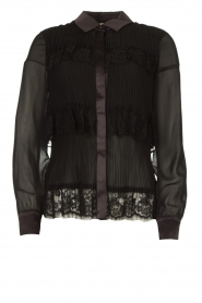Fracomina |  Plisse blouse with lace details Kela | black   | Picture 1