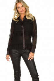 Fracomina |  Plisse blouse with lace details Kela | black   | Picture 4