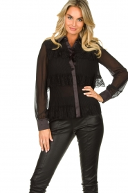 Fracomina |  Plisse blouse with lace details Kela | black   | Picture 2