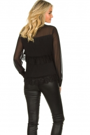 Fracomina |  Plisse blouse with lace details Kela | black   | Picture 7