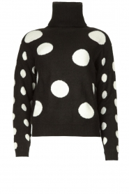 Fracomina |  Turtleneck sweater with dots Pop Up | black  | Picture 1