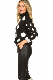 Fracomina |  Turtleneck sweater with dots Pop Up | black  | Picture 5