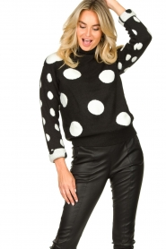 Fracomina |  Turtleneck sweater with dots Pop Up | black  | Picture 2