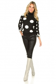 Fracomina |  Turtleneck sweater with dots Pop Up | black  | Picture 3