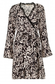 Fracomina |  Leopard printed dress Hollow | black  | Picture 1