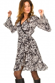 Fracomina |  Leopard printed dress Hollow | black  | Picture 5