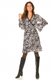 Fracomina |  Leopard printed dress Hollow | black  | Picture 3