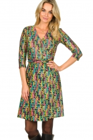 Fracomina |  Printed dress with lurex | multi  | Picture 4