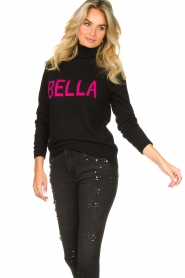 Fracomina |  Turtleneck with text Bella | black  | Picture 2