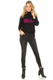 Fracomina |  Turtleneck with text Bella | black  | Picture 3