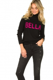 Fracomina |  Turtleneck with text Bella | black  | Picture 5