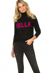 Fracomina |  Turtleneck with text Bella | black  | Picture 4