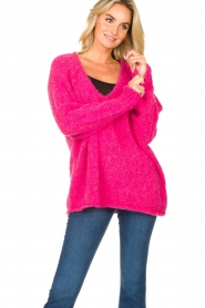 American Vintage |  Soft V-neck sweater Tudbury | pink  | Picture 2