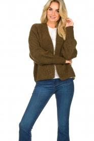 American Vintage |  Short knitted cardigan East | green  | Picture 4