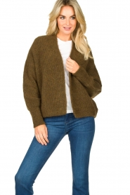 American Vintage |  Short knitted cardigan East | green  | Picture 2
