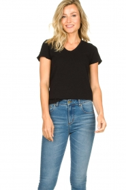 American Vintage |  Basic V-neck T-shirt Sonoma | black  | Picture 3