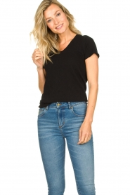 American Vintage |  Basic V-neck T-shirt Sonoma | black  | Picture 2