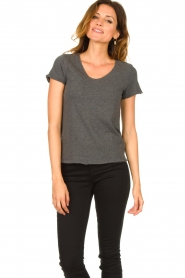 American Vintage |  Basic V-neck T-shirt Sonoma | grey  | Picture 3