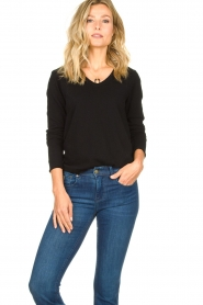 American Vintage |  Basic V-neck top Sonoma longsleeve | black  | Picture 2