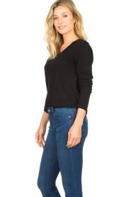 American Vintage |  Basic V-neck top Sonoma longsleeve | black  | Picture 5