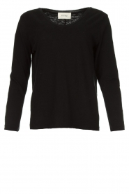 American Vintage |  Basic V-neck top Sonoma longsleeve | black  | Picture 1