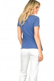 American Vintage |  Basic V-neck T-shirt Jacksonville | blue  | Picture 5