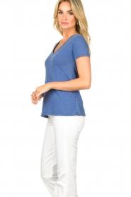 American Vintage |  Basic V-neck T-shirt Jacksonville | blue  | Picture 3