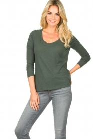 American Vintage |  Basic round neck T-shirt Jacksonville | green  | Picture 4