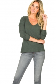 American Vintage |  Basic round neck T-shirt Jacksonville | green  | Picture 3