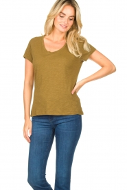 American Vintage |  Basic T-shirt with round neck Jacksonville | green  | Picture 3