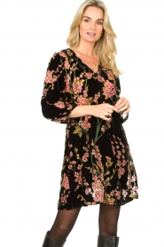 Freebird |  Velvet dress with floral print Floor | pink  | Picture 4