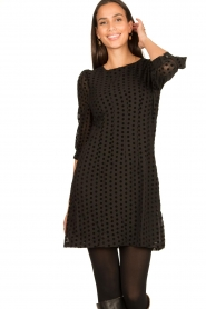 Freebird |  Dress with velvet spots Elyn | black  | Picture 2