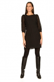 Freebird |  Dress with velvet spots Elyn | black  | Picture 3