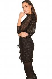 Freebird |  Skirt with ruffles Silke | black  | Picture 6