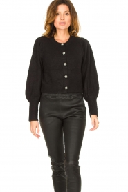 Notes Du Nord |  Cardigan with balloon sleeves Savanna | black  | Picture 2