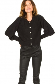 Notes Du Nord |  Cardigan with balloon sleeves Savanna | black  | Picture 4