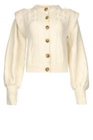 Notes Du Nord |  Soft knitted cardigan with balloon sleeves Sonya | natural  | Picture 1