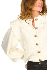 Notes Du Nord |  Soft knitted cardigan with balloon sleeves Sonya | natural  | Picture 8
