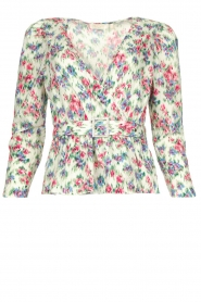 Notes Du Nord |  Floral wrap top Shelly | light green  | Picture 1