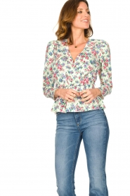 Notes Du Nord |  Floral wrap top Shelly | light green  | Picture 4