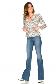 Notes Du Nord |  Floral wrap top Shelly | light green  | Picture 3