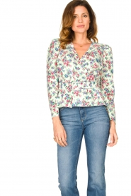 Notes Du Nord |  Floral wrap top Shelly | light green  | Picture 2