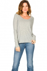 American Vintage |  Basic round neck l/s T-shirt Jacksonville | grey  | Picture 2